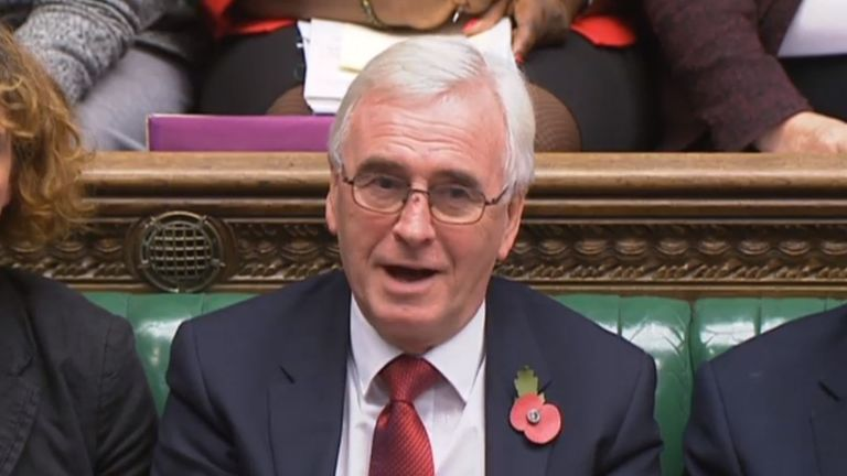 John McDonnell listens as Philip Hammond makes his budget statement