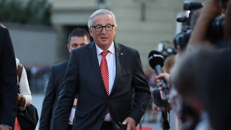 Jean-Claude Juncker, President of the European Commission, arrives at an informal summit of leaders of the European Union on September 19, 2018 in Salzburg, Austria