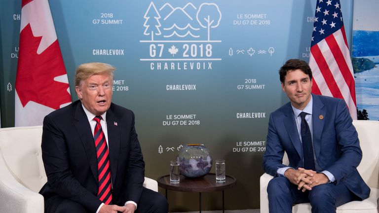 Donald Trump and Justin Trudeau during a G7 summit in Canada in June