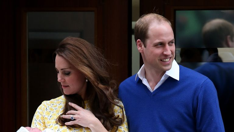 Kate Middleton holds Princess Charlotte outside the Lindo Wing in 2015