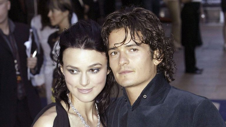 Keira Knightley and Orlando Bloom at the premiere of Pirates Of The Carribean at the Odeon Leicester Square. London in 2003