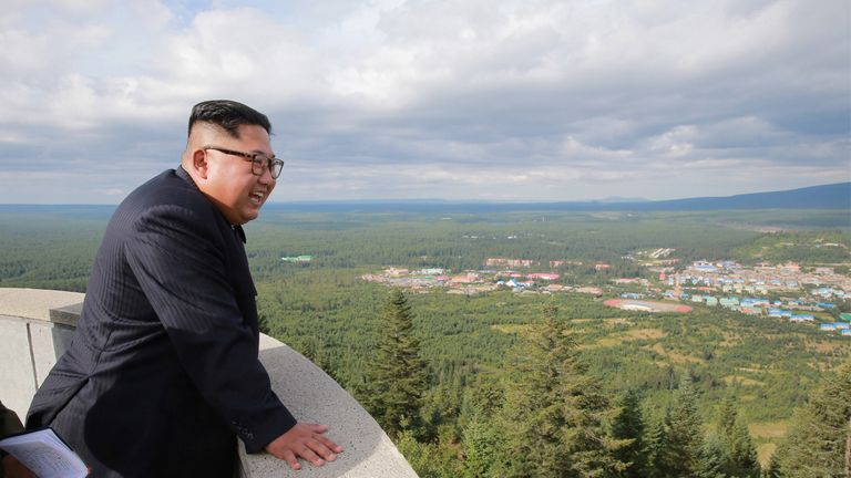 Kim Jong Un pictured in Samjiyon County, North Korea