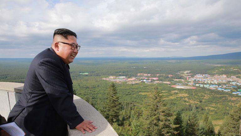 Kim Jong Un pictured in Samjiyon County, North Korea