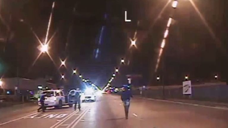 This image from a police dash camera was frozen moments before Jason Van Dyke opened fire