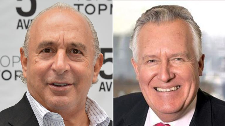 Sir Philip Green (left) was named by Lord Hain