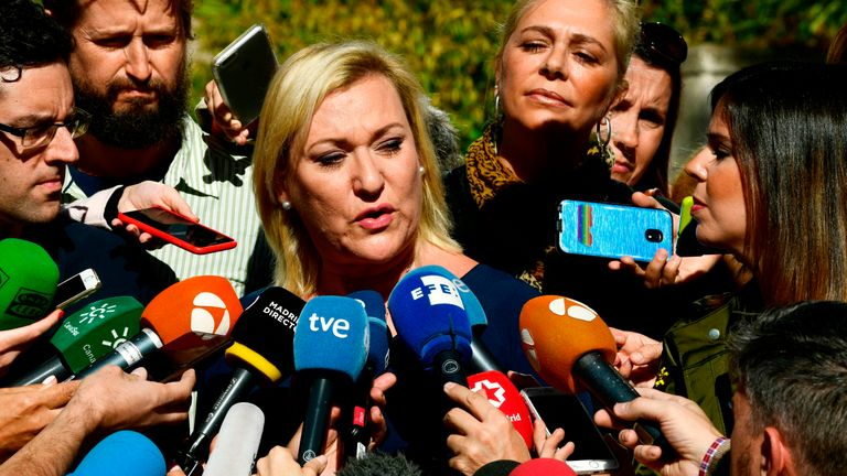 Ines Madrigal speaks to journalists outside a Madrid court after the verdict