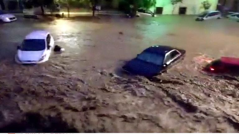 Flash floods affecting the village of Sant Llorenc des Cardasar, in Mallorca