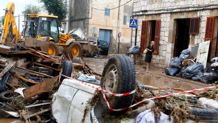 Heavy rain and flash floods hit Sant Llorenc de Cardassar on the island of Mallorca, Spain