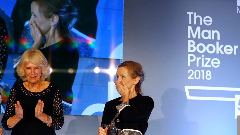 The Duchess of Cornwall presented a shocked Anna Burns with the Man Booker Prize
