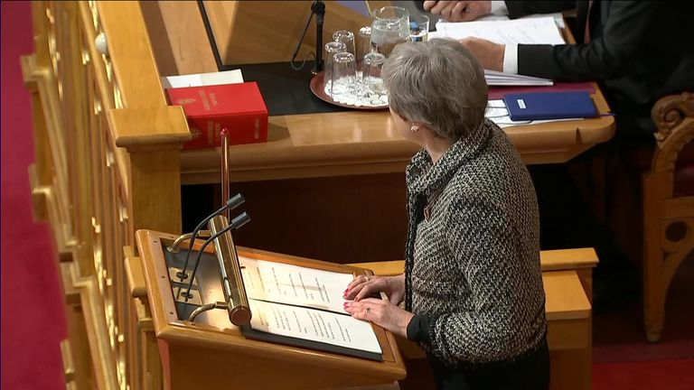 Her speech in the Norwegian parliament was focused around Brexit on the same day her former department were being criticised for lack of border preparations.