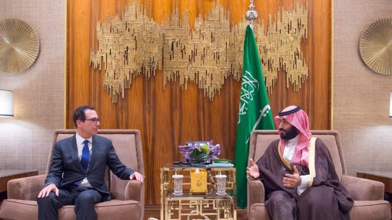 Steve Mnuchin met the Crown Prince of Saudi Mohammed bin Salman. Pic: Saudi Foreign Ministry