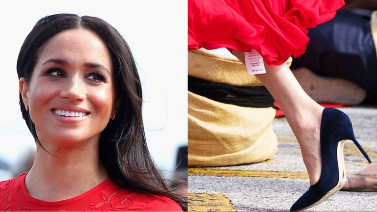 Meghan appeared to leave the label on her dress in Tonga