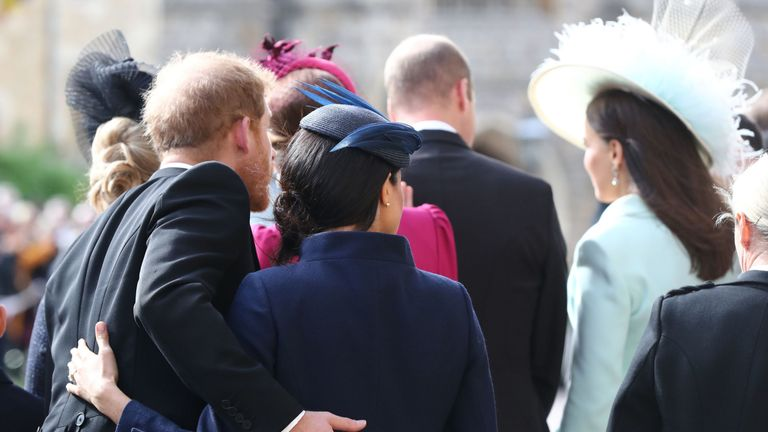 The Duchess of Sussex and the Duke of Sussex after the wedding of Princess Eugenie