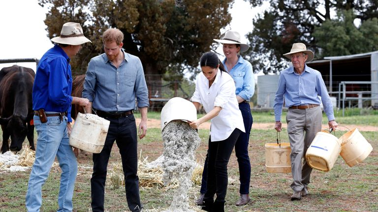 Prince Harry and Meghan, Duchess of Sussex visit a local farming family, the Woodleys, in Dubbo