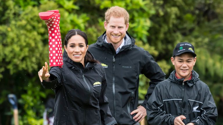 Meghan and Harry in welly-wanging competition in New Zealand