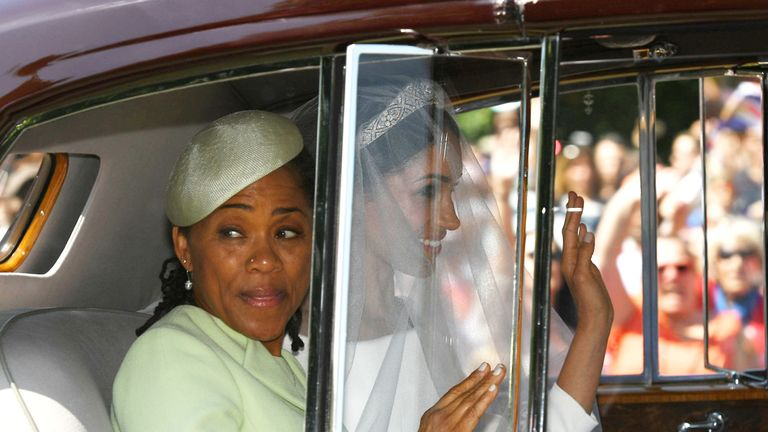 Meghan with her mother Doria Ragland on the day of her wedding