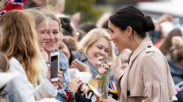 Meghan meets fans during a public walk along Auckland's Viaduct Harbour