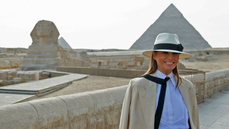 US First Lady Melania Trump visits the Giza pyramids and the Sphinx