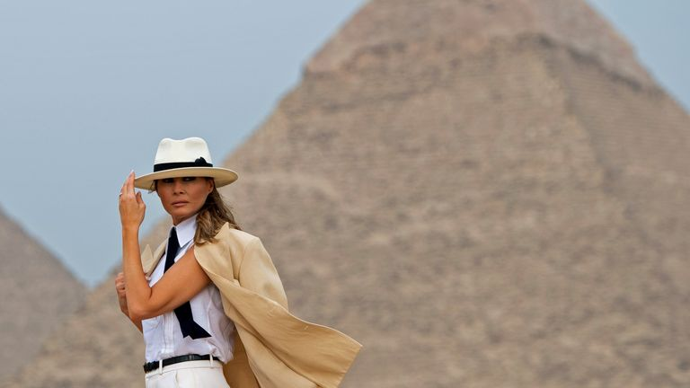Melania Trump in front of Egypt's Pyramid of Khafre at Giza