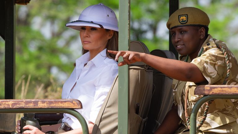 7d724da02c75c First lady Melania Trump criticised for  colonial  hat choice in Kenya