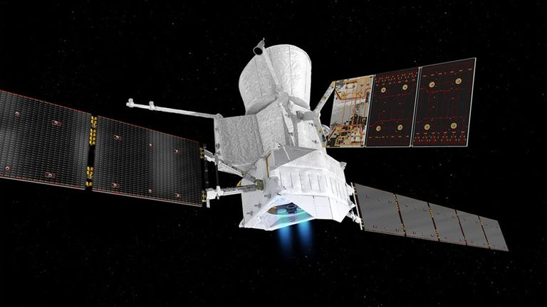 Artist's impression of the BepiColombo in 'cruise mode' on its way to Mercury