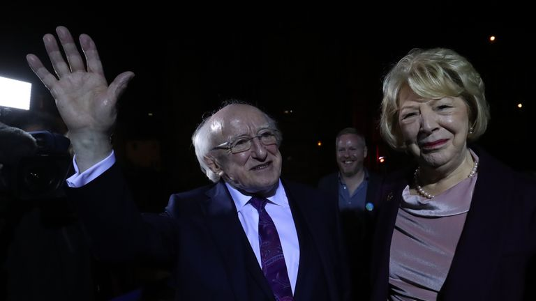 Michael D Higgins and his wife Sabina arrive at Dublin Castle to attend the count in Ireland's presidential election