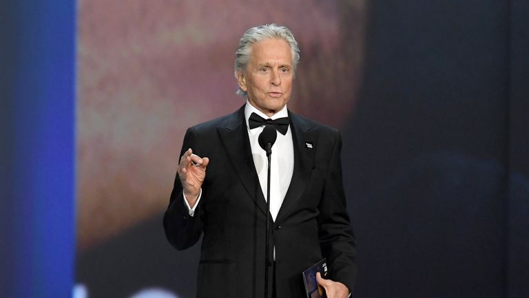 Michael Douglas speaks on stage during the 70th Emmy Awards at Microsoft Theater on September 17, 2018 in Los Angeles, California. (Photo by Kevin Winter/Getty Images)