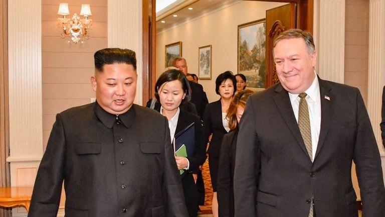 Kim Jong Un and Mike Pompeo meeting in Pyongyang. Pic: Twitter/@SecPompeo