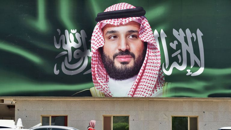 A picture taken on October 22, 2018 shows a portrait of Saudi Crown Prince Mohammed bin Salman (MBS) in the capital Riyadh one day ahead of the the Future Investment Initiative FII conference that will take place in Riyadh from 23-25 October. - Saudi Arabia will host a key investment summit overshadowed by the killing of critic Jamal Khashoggi that has prompted a wave of policymakers and corporate giants to withdraw. (Photo by FAYEZ NURELDINE / AFP) (Photo credit should read FAYEZ NURELDINE/AFP/