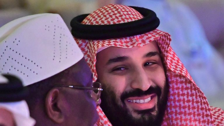 Saudi Crown Prince Mohammed bin Salman (R) talks with the President of Senegal Macky Sall during the Future Investment Initiative FII conference in the Saudi capital Riyadh on October 24, 2018. - The summit, nicknamed 'Davos in the desert', has been overshadowed by growing global outrage over the murder of a Saudi journalist inside the kingdom's consulate in Istanbul. (Photo by GIUSEPPE CACACE / AFP) (Photo credit should read GIUSEPPE CACACE/AFP/Getty Images)