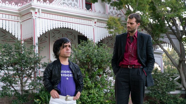 My Dinner with Herve explores the unlikely friendship between struggling journalist Danny Tate and French actor Herve Villechaize - starring Peter Dinklage and Jamie Dornan. Pic: HBO
