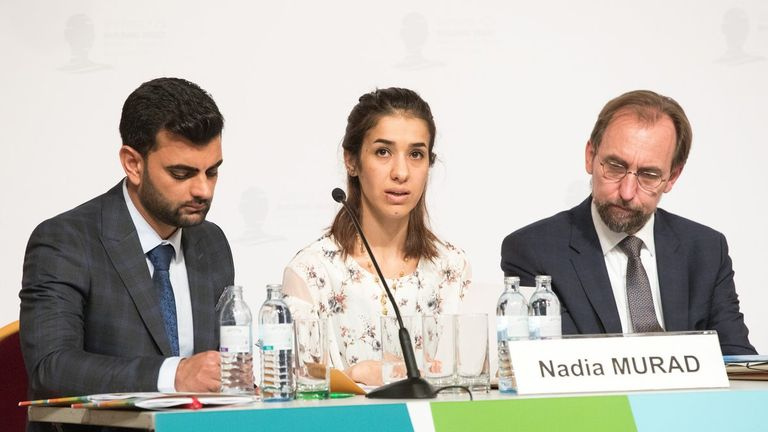 Nadia Murad was sexually abused by IS before she managed to escape. Pic: Nobel Prize