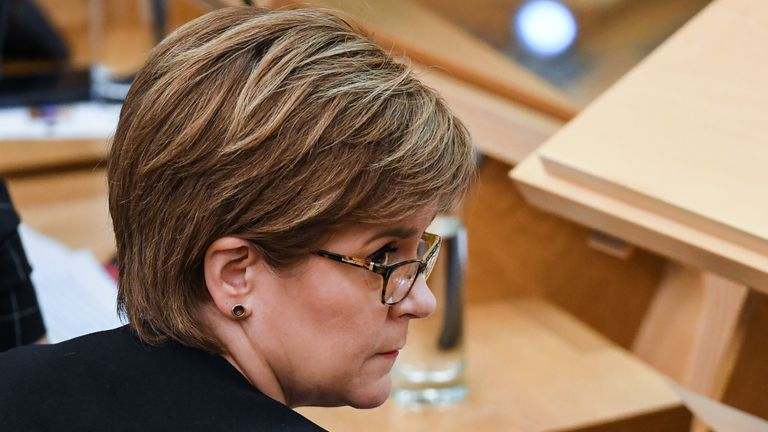 EDINBURGH, SCOTLAND - SEPTEMBER 27: First Minister of Scotland Nicola Sturgeon responds to questions during first minister's questions in the Scottish Parliament on September 27, 2018 in Edinburgh, Scotland. (Photo by Jeff J Mitchell/Getty Images)