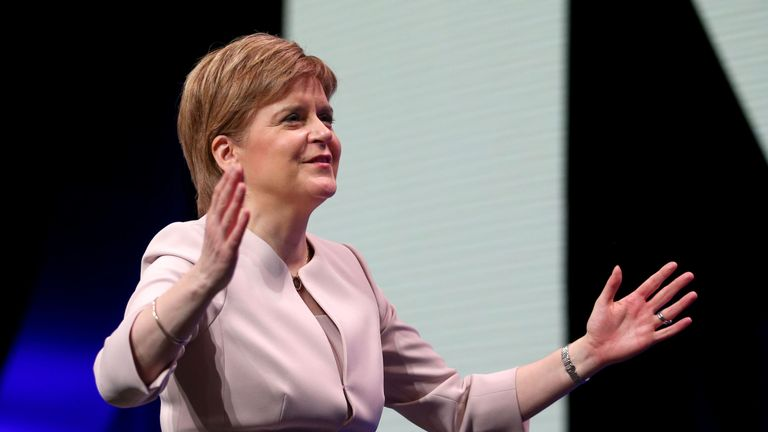 First Minister Nicola Sturgeon during day two of the SNP autumn conference at the SEC, Glasgow.