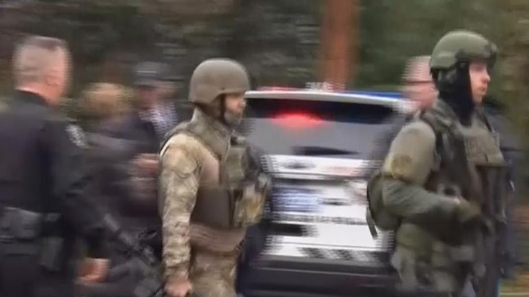 Armed officers at the scene of a shooting in Pittsburgh