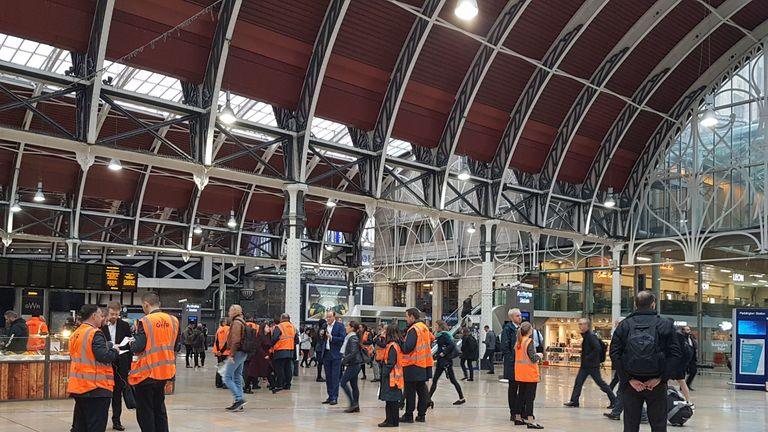 The scene at Paddington Station, London as trains are unable to run between the railway hub and Slough or Heathrow Airport