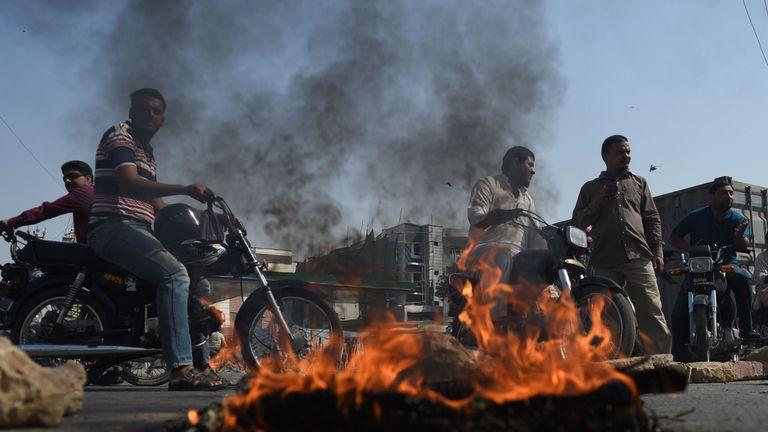 Roads were blocked in cities across Pakistan