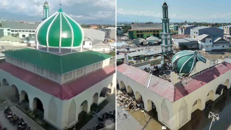 A before and after image of the Baiturrahman Mosque in Palu