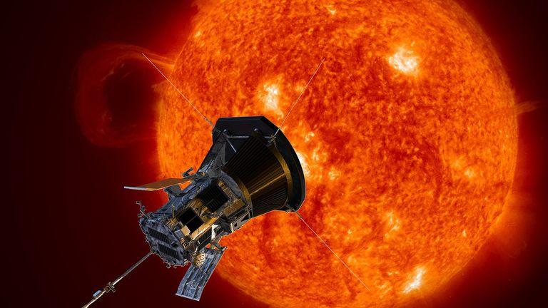 An artist's impression of the probe near the sun Pic: NASA
