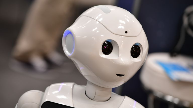 HANOVER, GERMANY - JUNE 12: Pepper, a humanoid robot entertains visitors at the SoftBak Robotics stand at the 2018 CeBIT technology trade fair on June 12, 2018 in Hanover, Germany. The 2018 CeBIT is running from June 11-15. (Photo by Alexander Koerner/Getty Images)