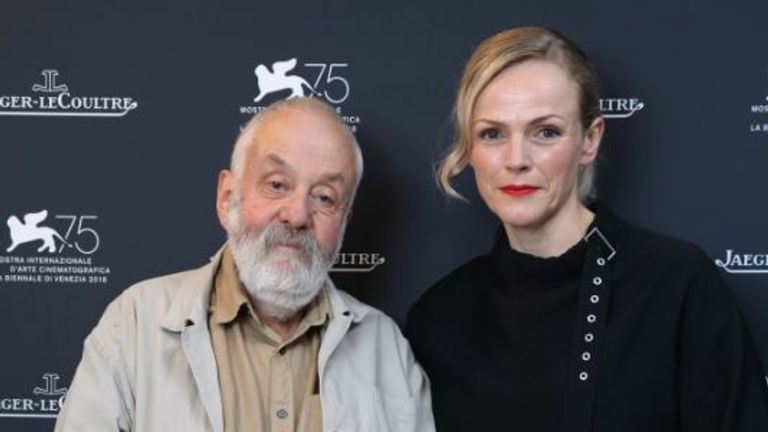 Mike Leigh and Maxine Peake at the premiere of Peterloo
