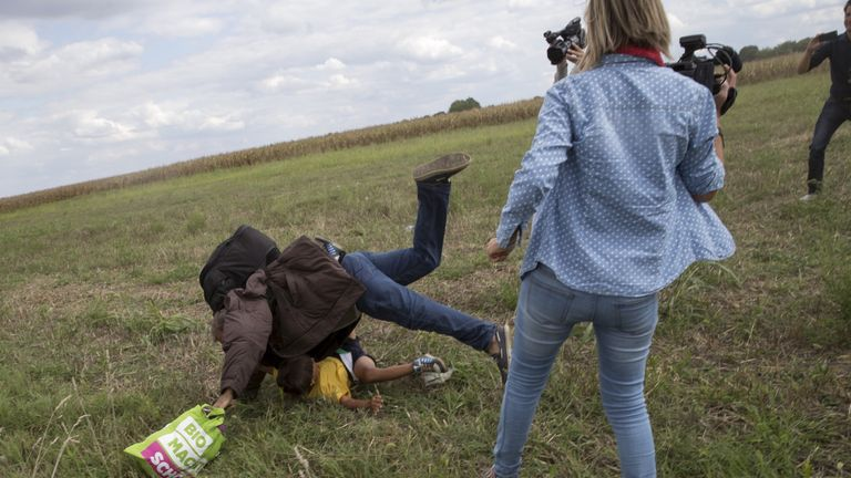 Petra Laszlo was also seen kicking a child migrant