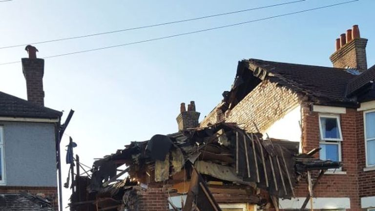 The scene after an explosion at a house in Poole. Pic: Dorset & Wiltshire Fire Service