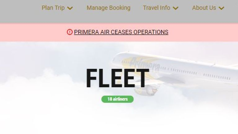 Primera Air annouces end of operations on website