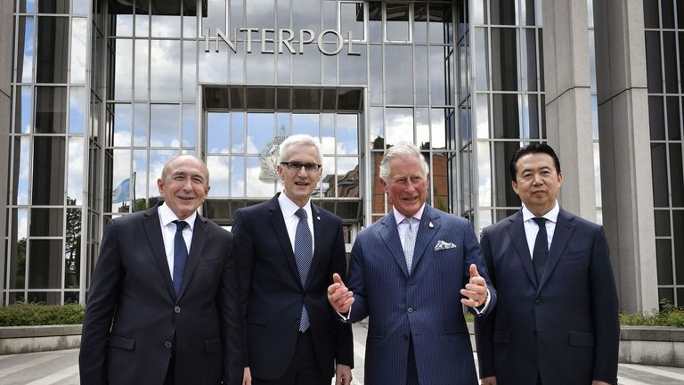 The Prince of Wales and Interpol president Meng Hongwei
