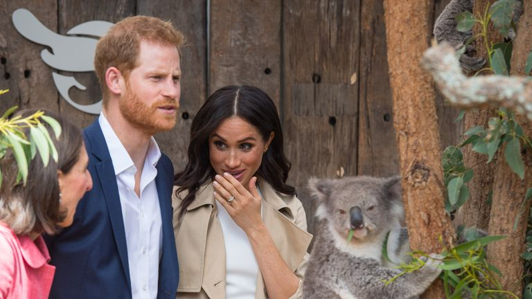 Harry and Meghan pictured with a koala in Sydney