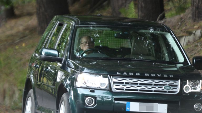 Prince Philip driving near Balmoral Castle in Scotland. Pic: Peter Jolly/REX/Shutterstock