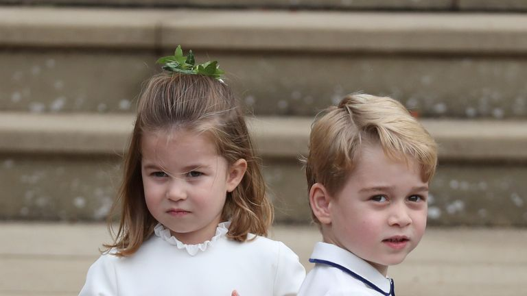 Princess Charlotte and Prince George arrive for the wedding