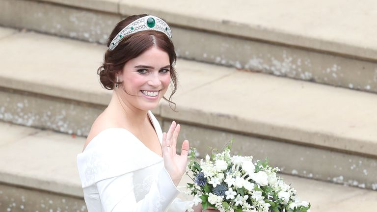 Princess Eugenie arrives for her wedding to Jack Brooksbank