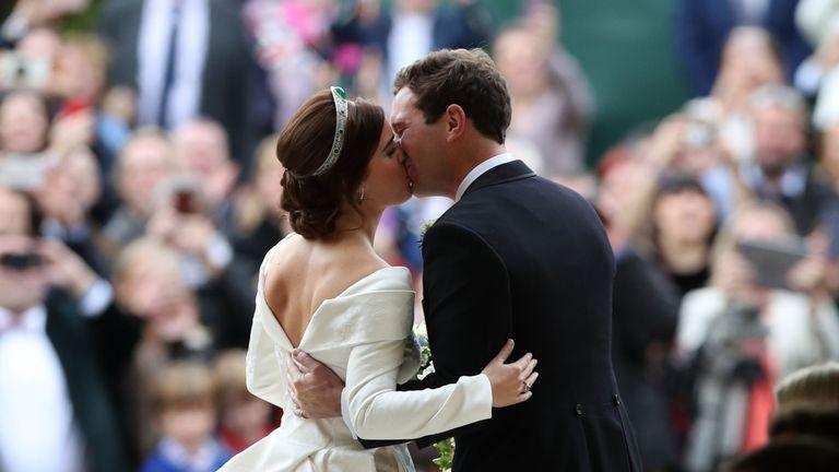 Princess Eugenie and Jack Brooksbank kiss